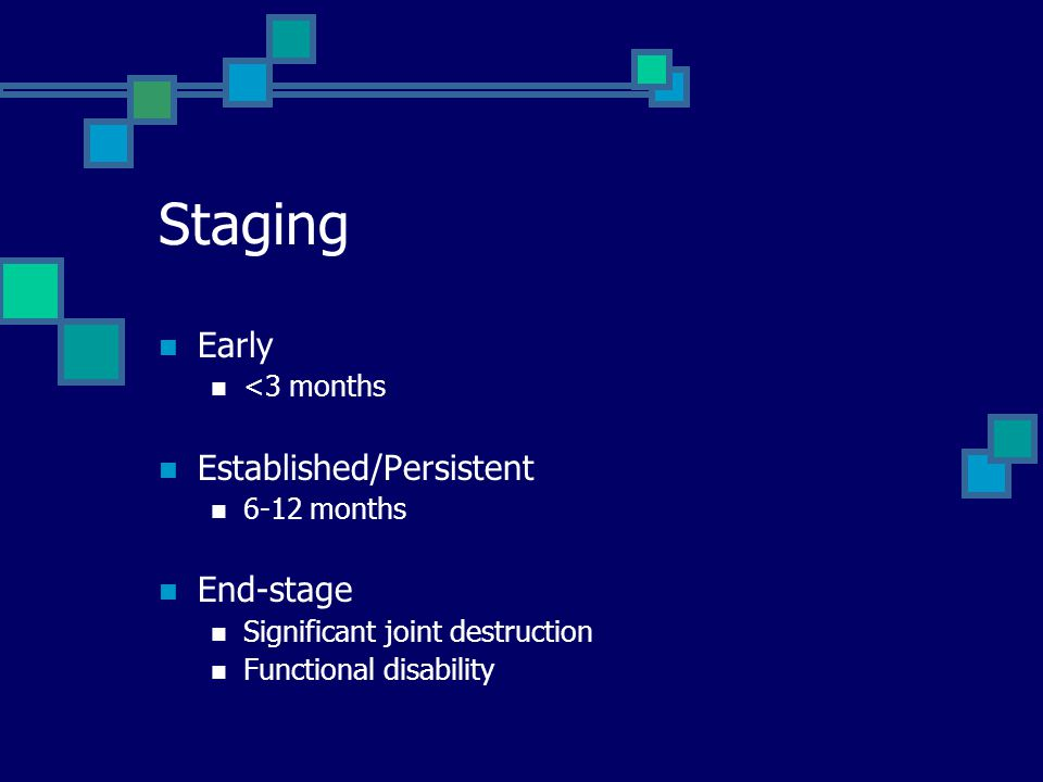 Staging Early Established/Persistent End-stage <3 months