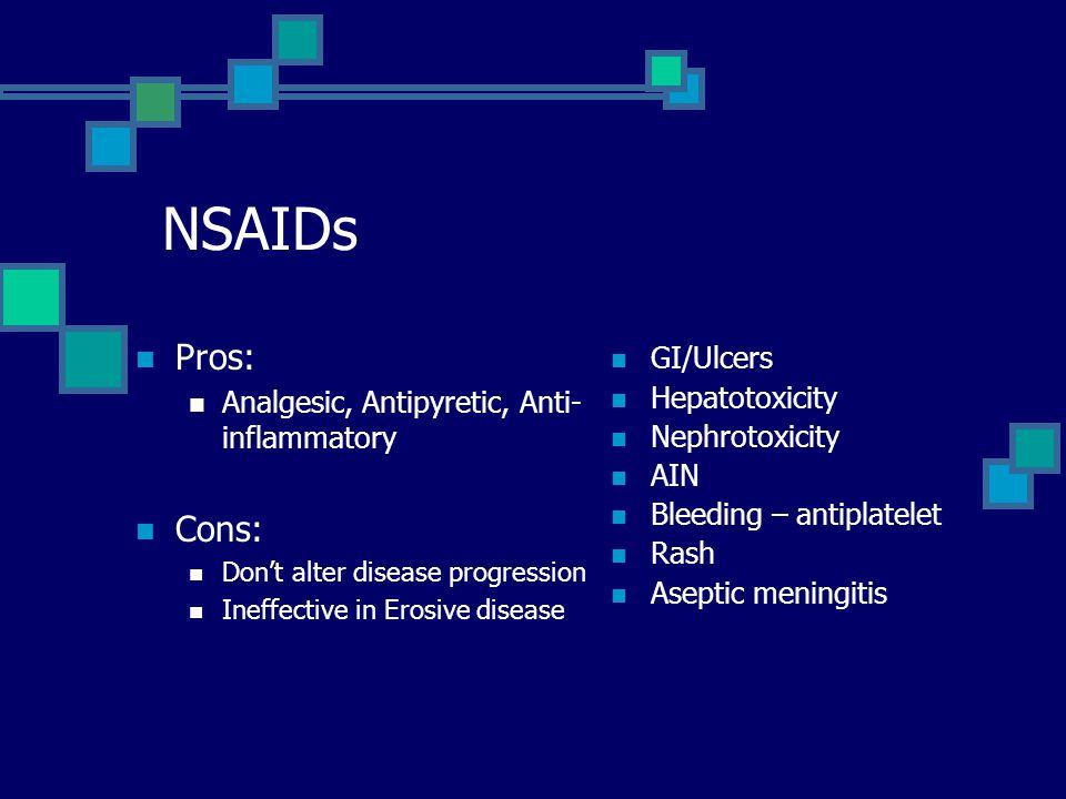 NSAIDs Pros: Cons: GI/Ulcers Analgesic, Antipyretic, Anti-inflammatory