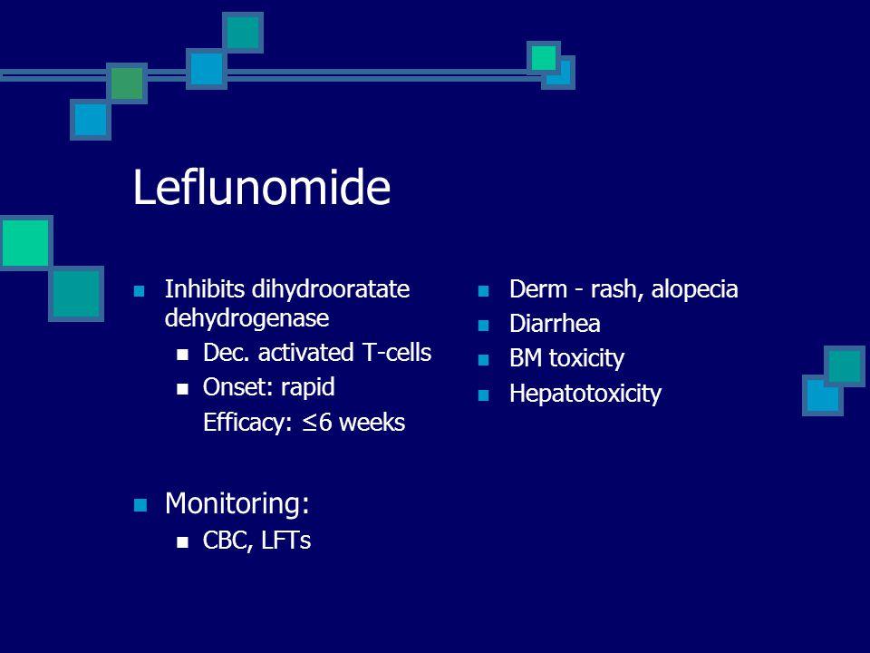 Leflunomide Monitoring: Inhibits dihydrooratate dehydrogenase