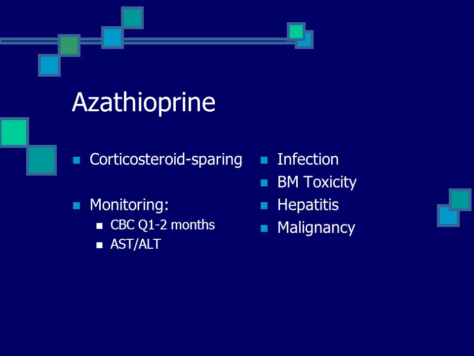 Azathioprine Corticosteroid-sparing Monitoring: Infection BM Toxicity