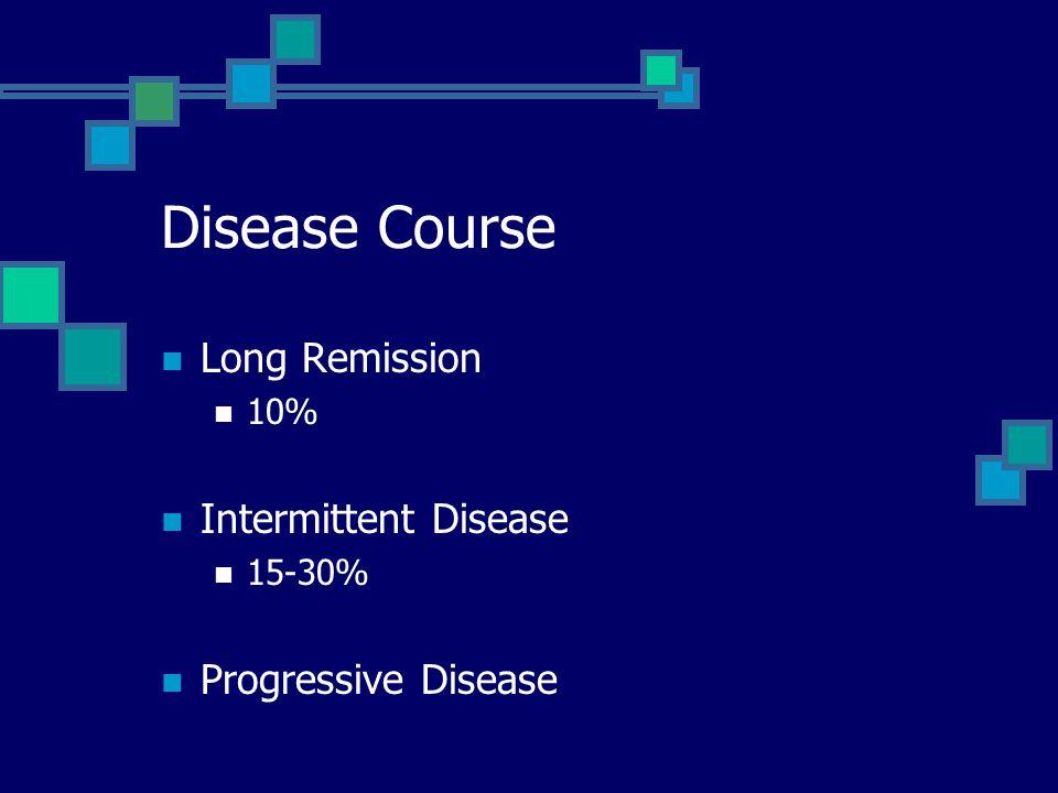 Disease Course Long Remission Intermittent Disease Progressive Disease