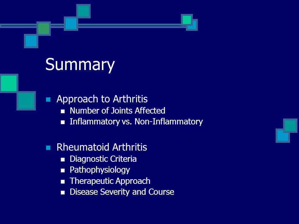 Summary Approach to Arthritis Rheumatoid Arthritis