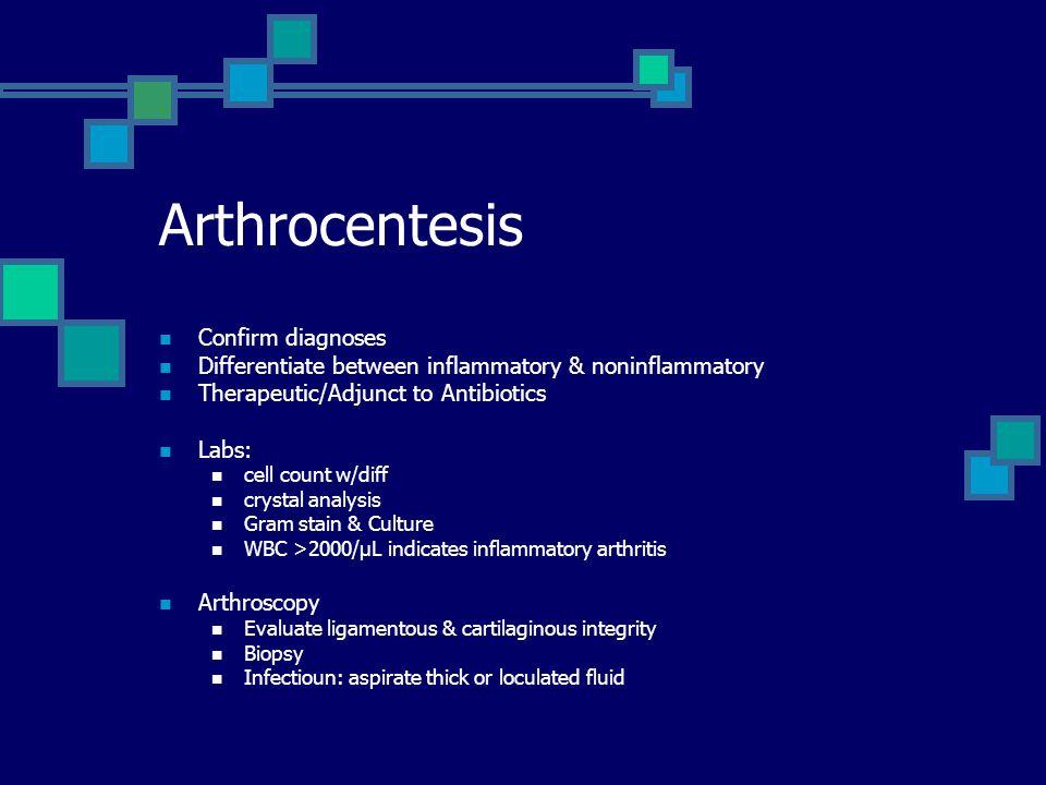 Arthrocentesis Confirm diagnoses