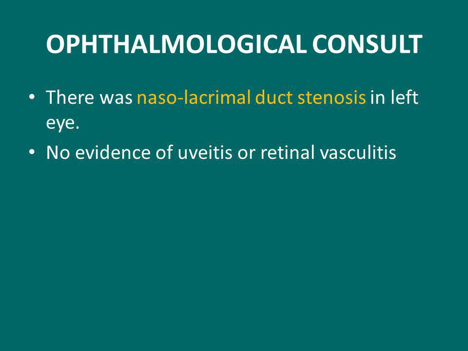 OPHTHALMOLOGICAL CONSULT