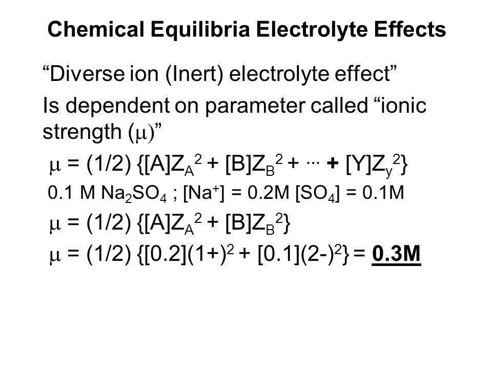 Chemical Equilibria Electrolyte Effects