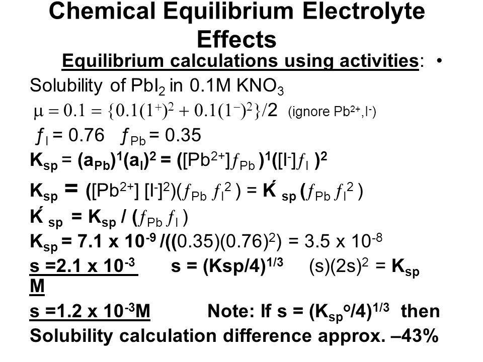 Chemical Equilibrium Electrolyte Effects