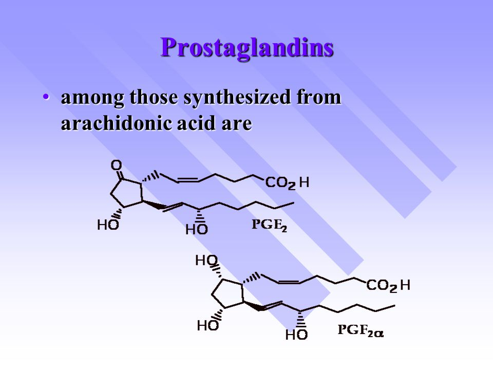 Prostaglandins among those synthesized from arachidonic acid are
