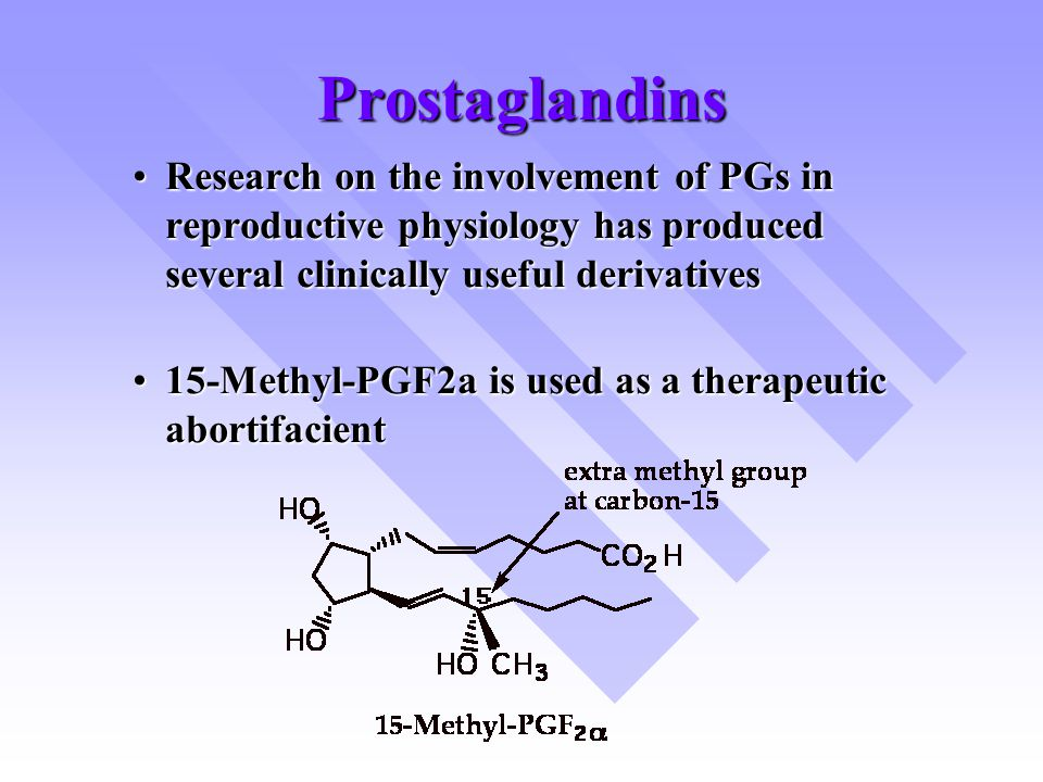 Prostaglandins Research on the involvement of PGs in reproductive physiology has produced several clinically useful derivatives.
