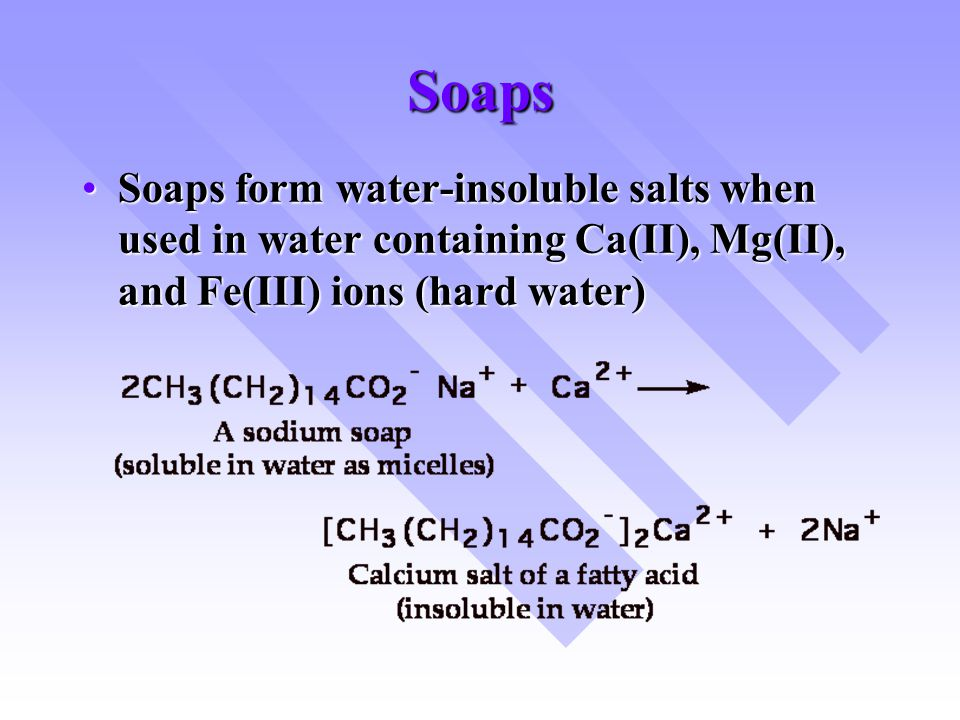 Soaps Soaps form water-insoluble salts when used in water containing Ca(II), Mg(II), and Fe(III) ions (hard water)