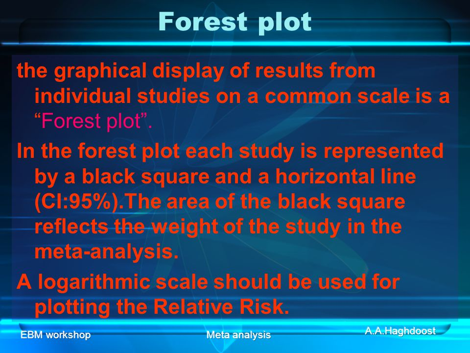 Forest plot the graphical display of results from individual studies on a common scale is a Forest plot .