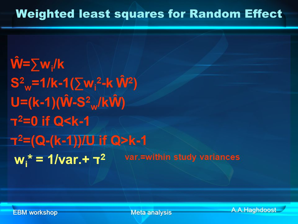 Weighted least squares for Random Effect