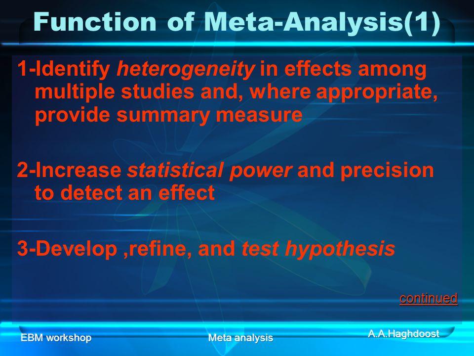 Function of Meta-Analysis(1)