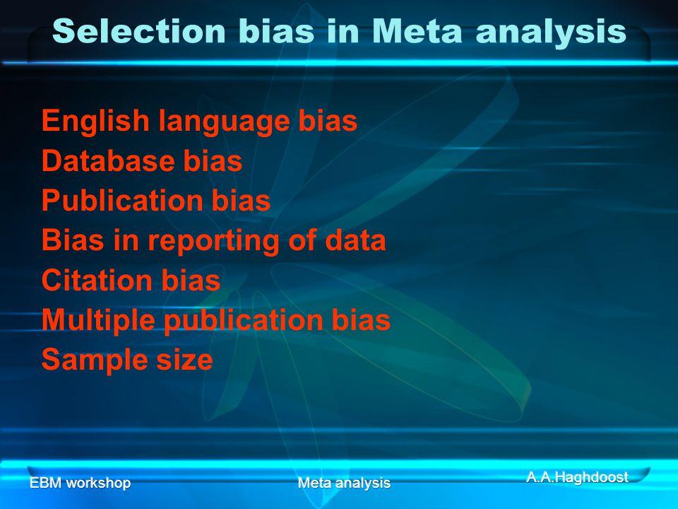 Selection bias in Meta analysis