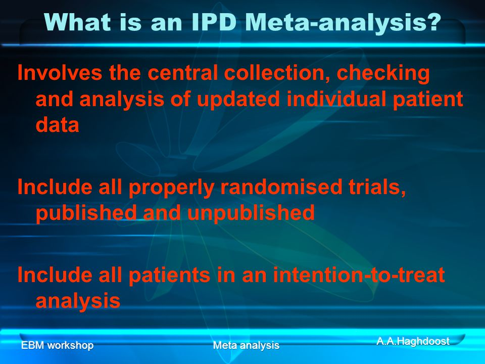 What is an IPD Meta-analysis