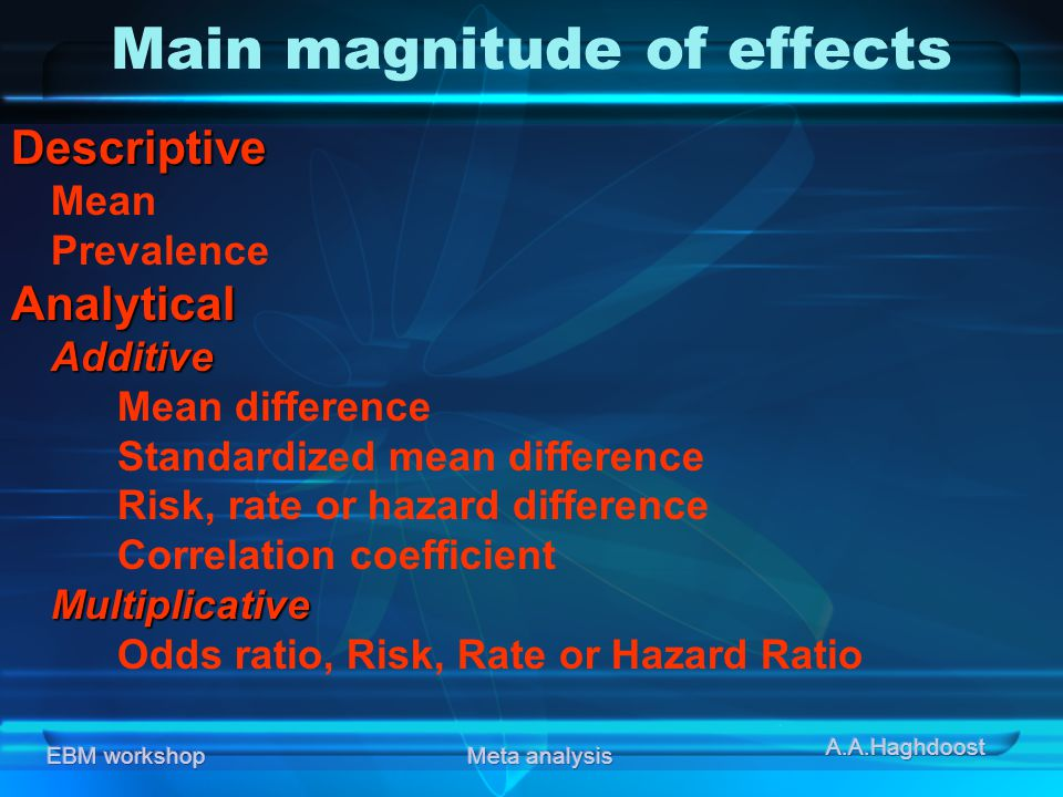Main magnitude of effects