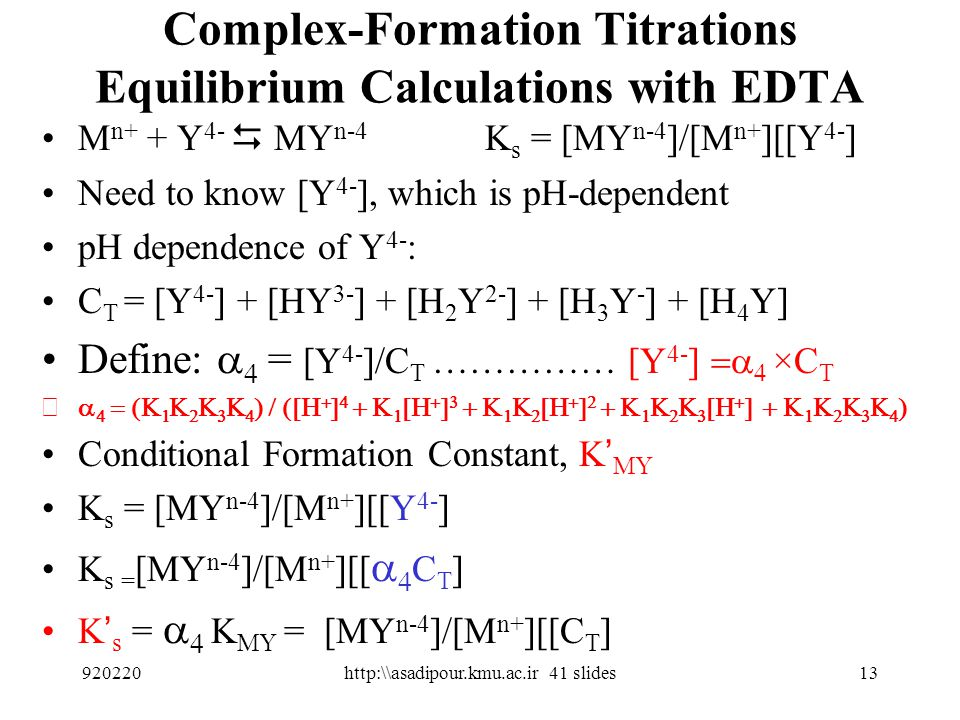 Complex-Formation Titrations Equilibrium Calculations with EDTA