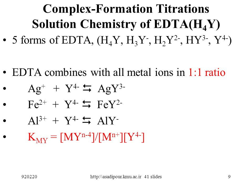 Complex-Formation Titrations Solution Chemistry of EDTA(H4Y)