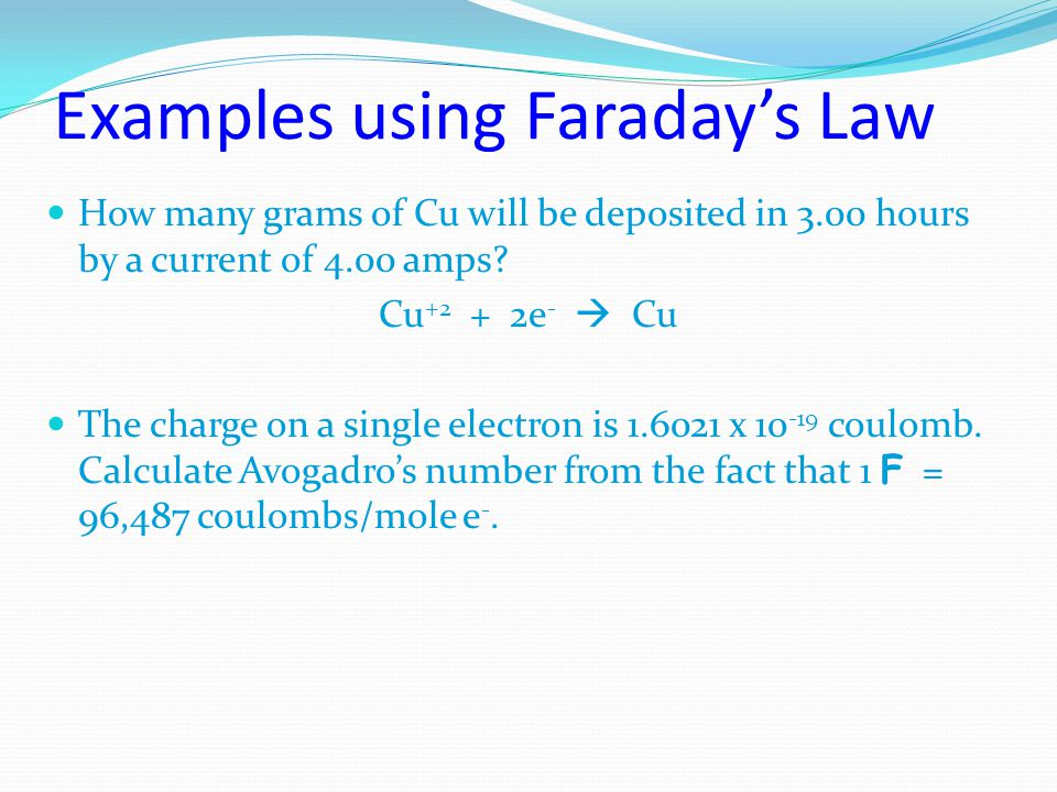 Examples using Faraday's Law