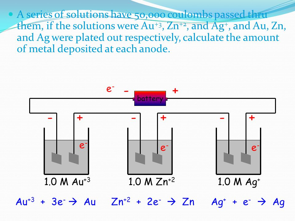 A series of solutions have 50,000 coulombs passed thru them, if the solutions were Au+3, Zn+2, and Ag+, and Au, Zn, and Ag were plated out respectively, calculate the amount of metal deposited at each anode.