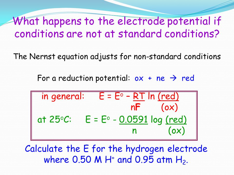 What happens to the electrode potential if conditions are not at standard conditions