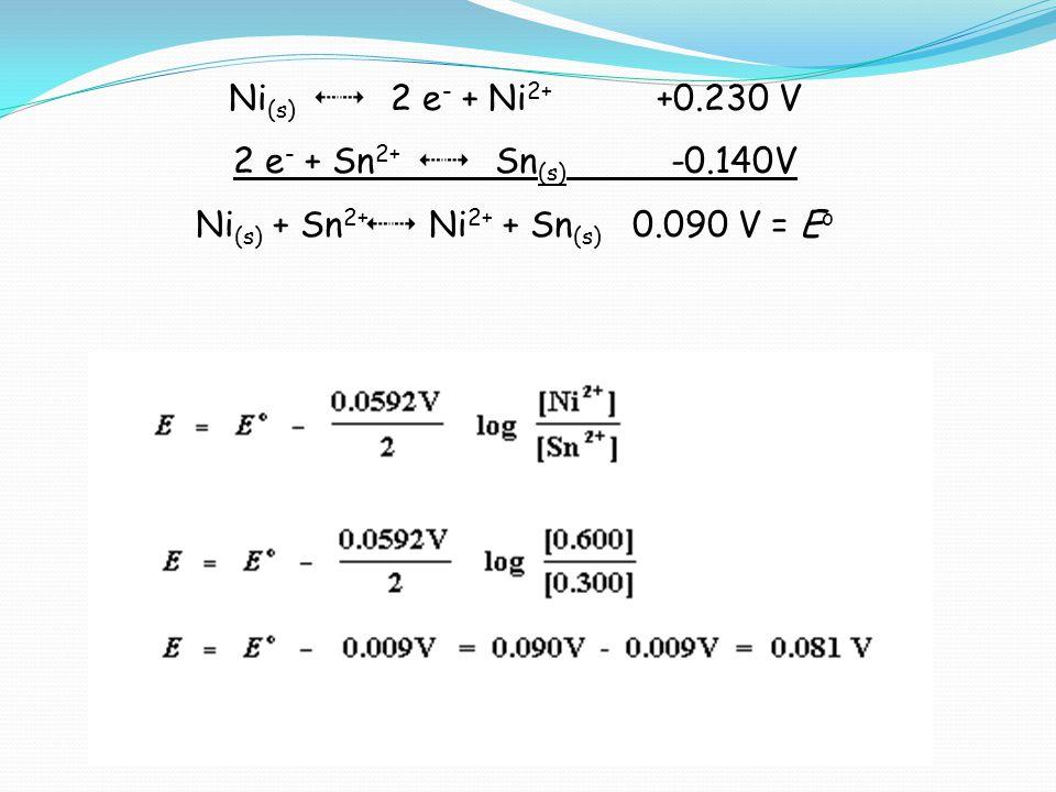 Ni(s) + Sn2+34 Ni2+ + Sn(s) 0.090 V = Eo