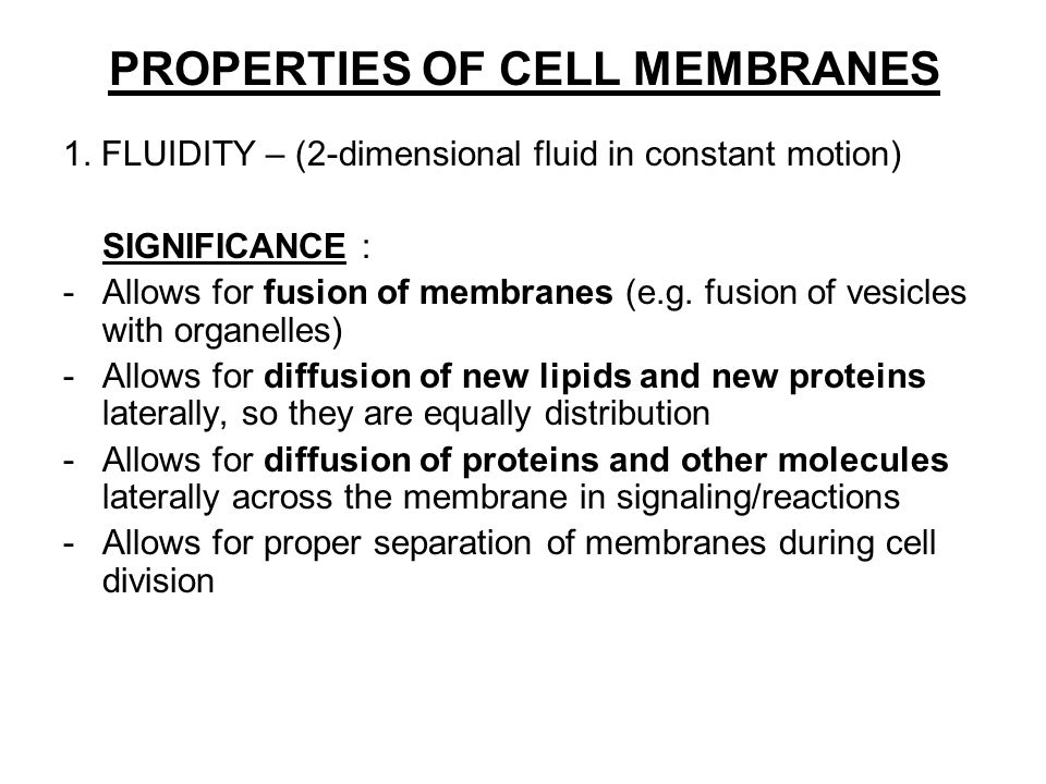 PROPERTIES OF CELL MEMBRANES