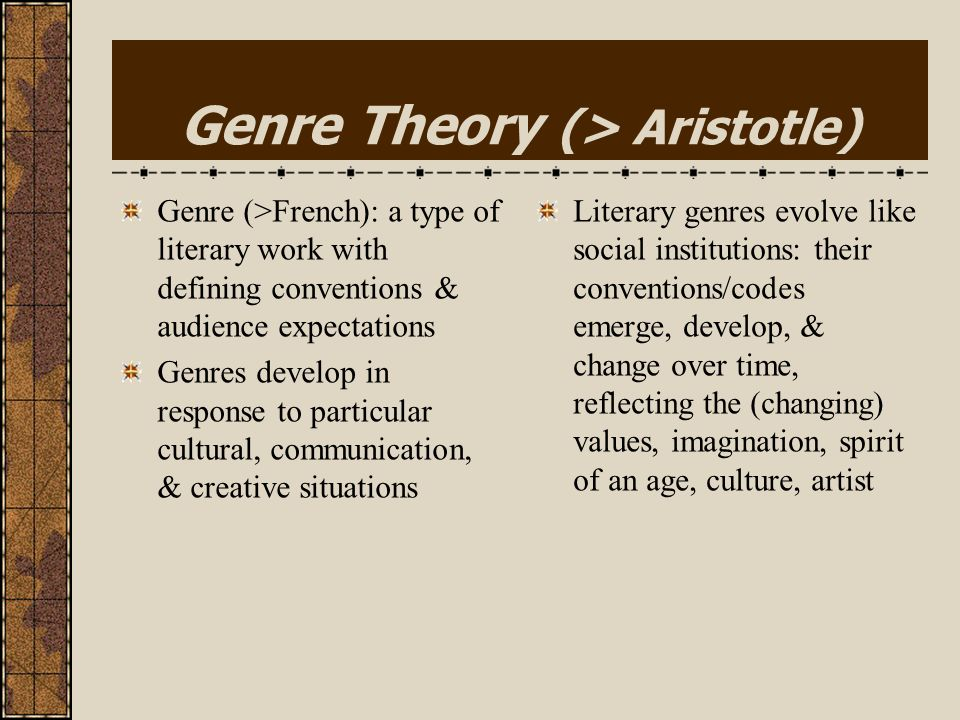 Genre Theory (> Aristotle)