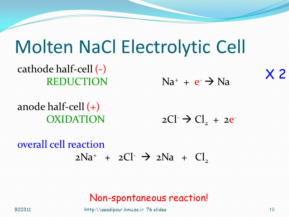 Molten NaCl Electrolytic Cell