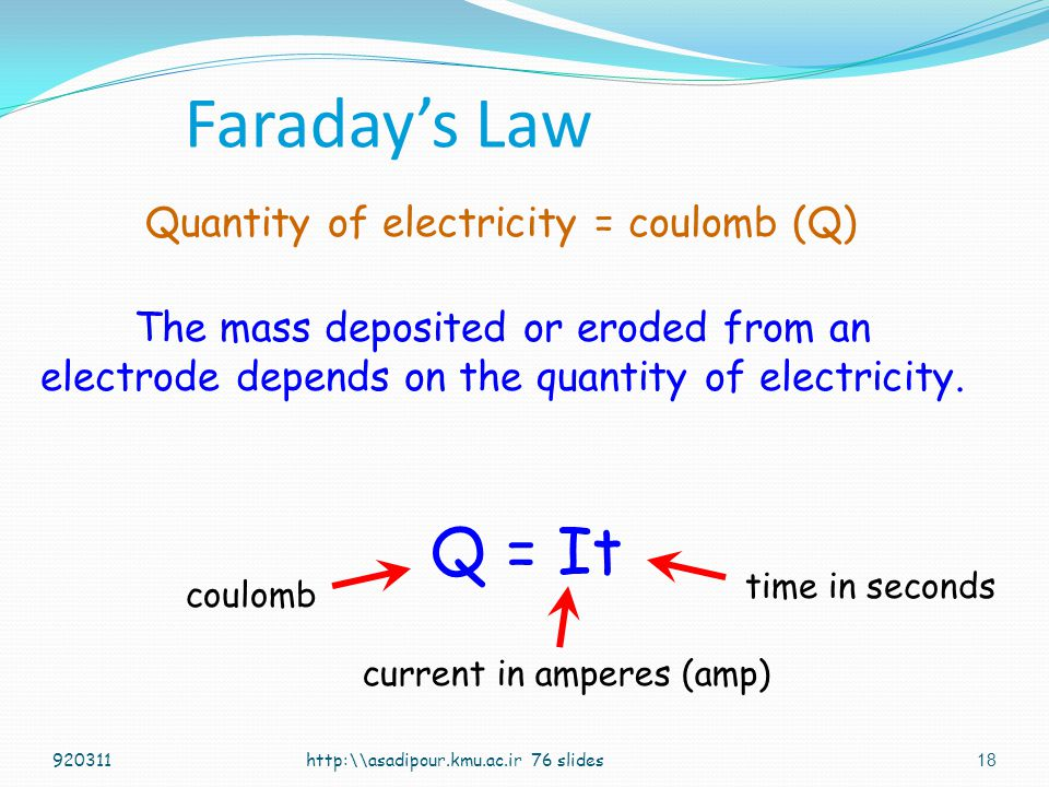 Faraday's Law Q = It Quantity of electricity = coulomb (Q)