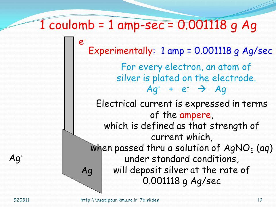 1 coulomb = 1 amp-sec = 0.001118 g Ag e-