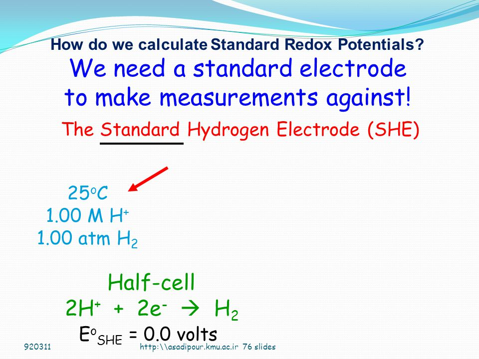How do we calculate Standard Redox Potentials