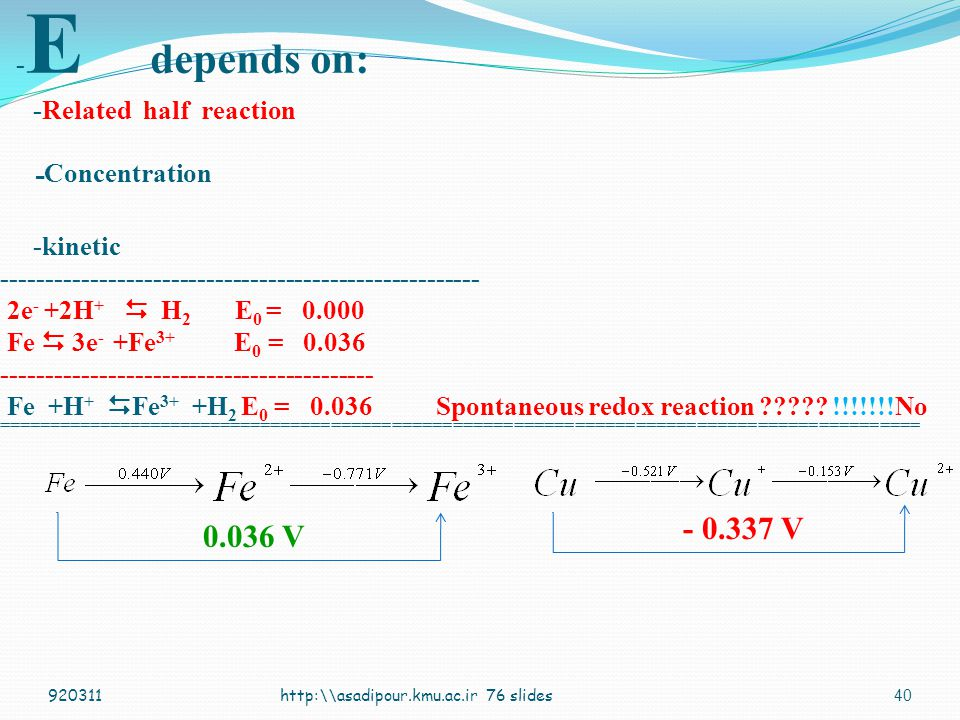 -E depends on: -Related half reaction -Concentration -kinetic ------------------------------------------------------ 2e- +2H+  H2 E0 = 0.000 Fe  3e- +Fe3+ E0 = 0.036 ------------------------------------------ Fe +H+ Fe3+ +H2 E0 = 0.036 Spontaneous redox reaction !!!!!!!No ===========================================================================================