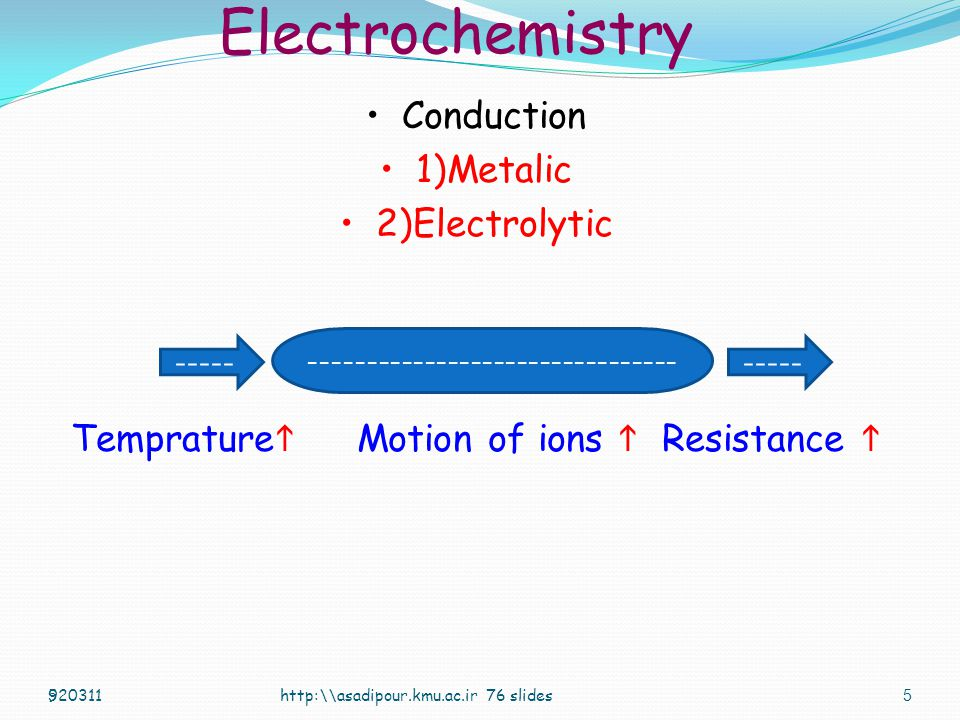 Electrochemistry Conduction 1)Metalic 2)Electrolytic