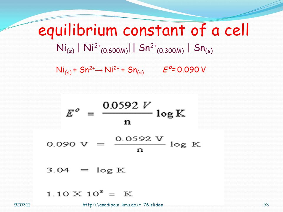 equilibrium constant of a cell