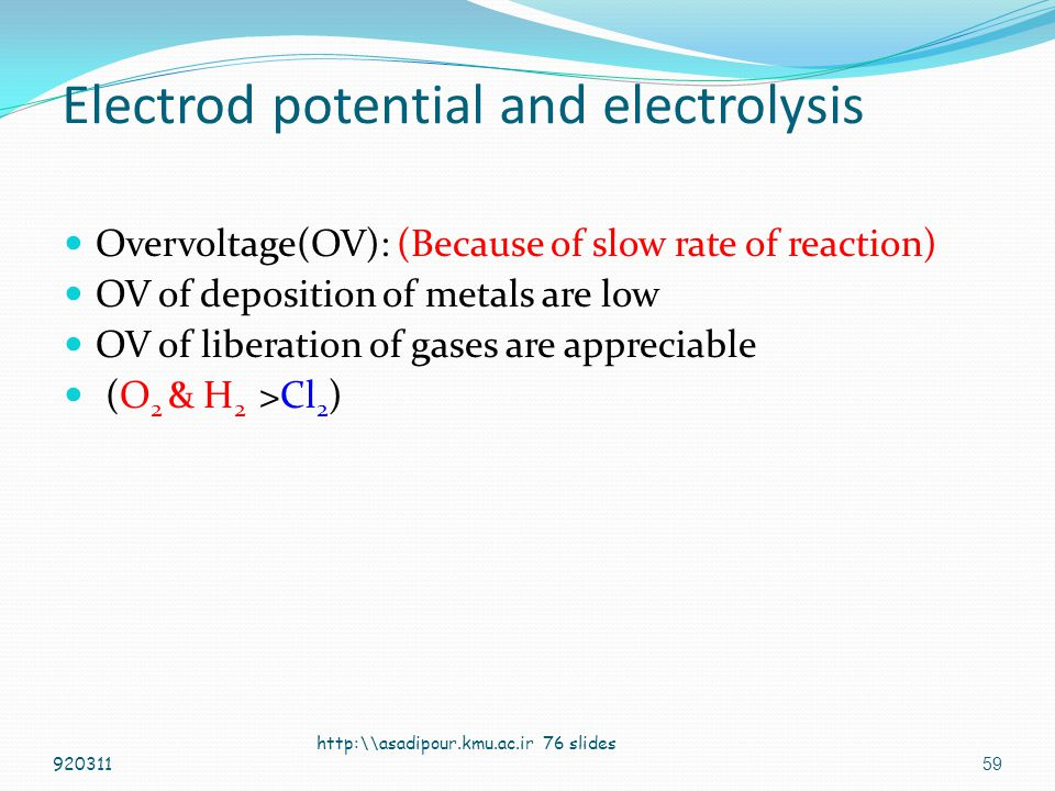 Electrod potential and electrolysis