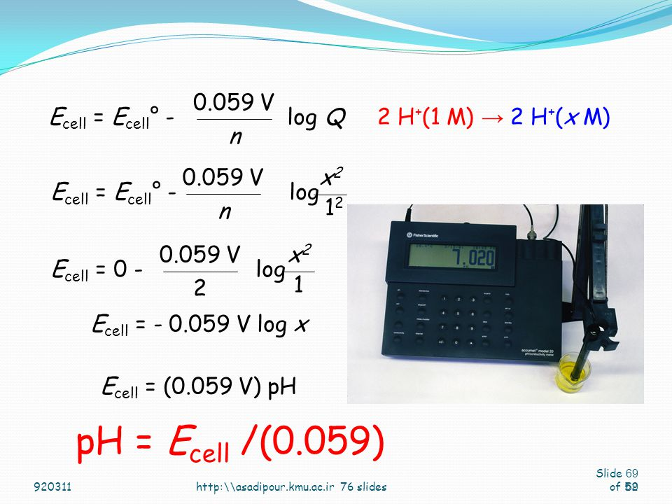 pH = Ecell /(0.059) Ecell = Ecell° - log Q n 0.059 V