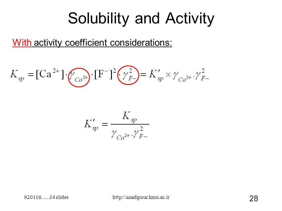 Solubility and Activity