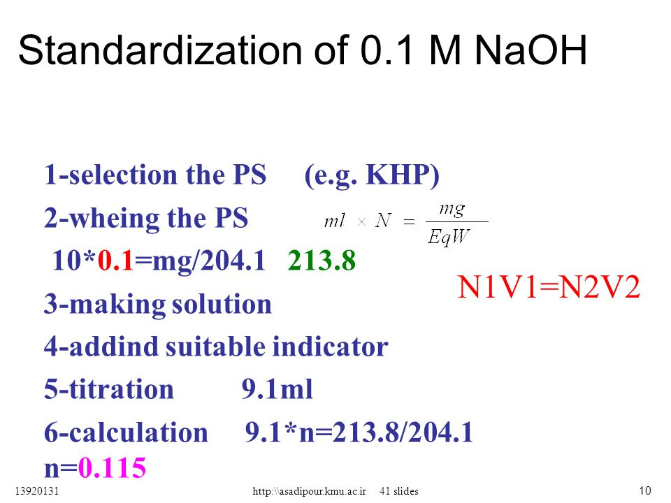 Standardization of 0.1 M NaOH