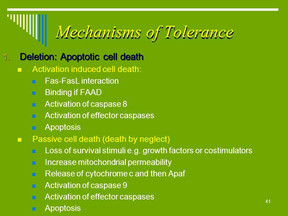 Mechanisms of Tolerance