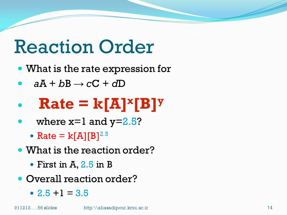 Reaction Order What is the rate expression for aA + bB → cC + dD
