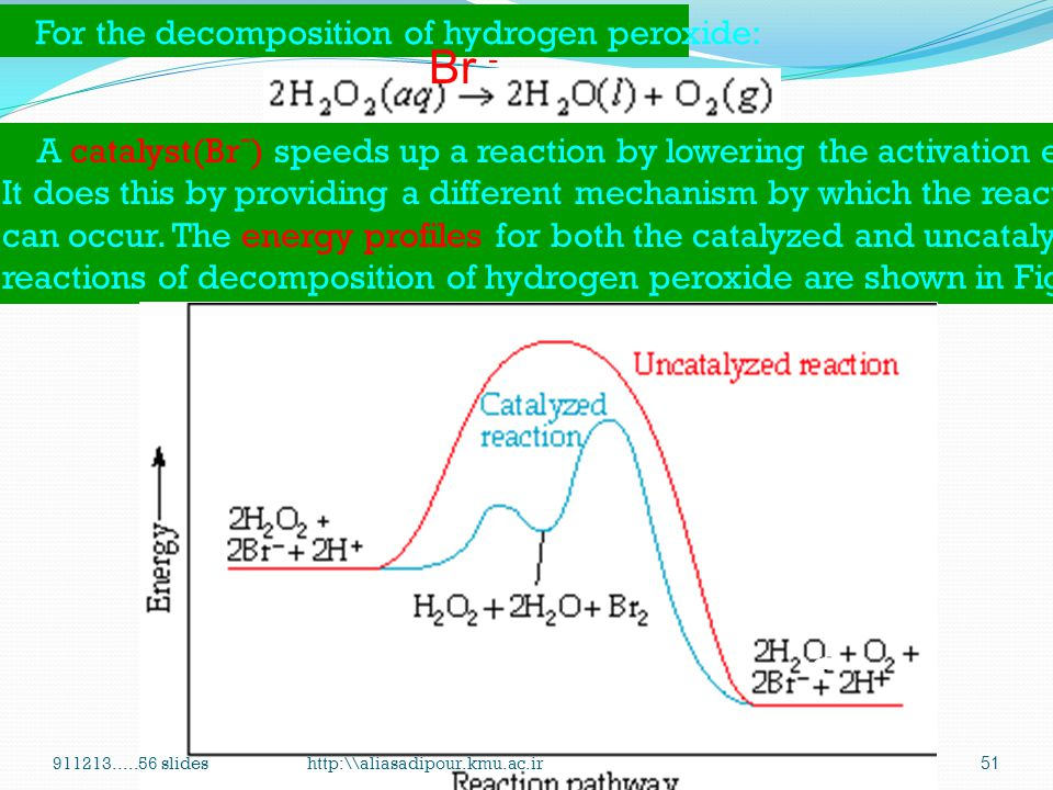 Br - For the decomposition of hydrogen peroxide: