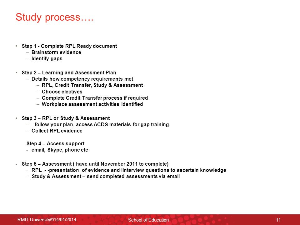 Study process…. Step 1 - Complete RPL Ready document
