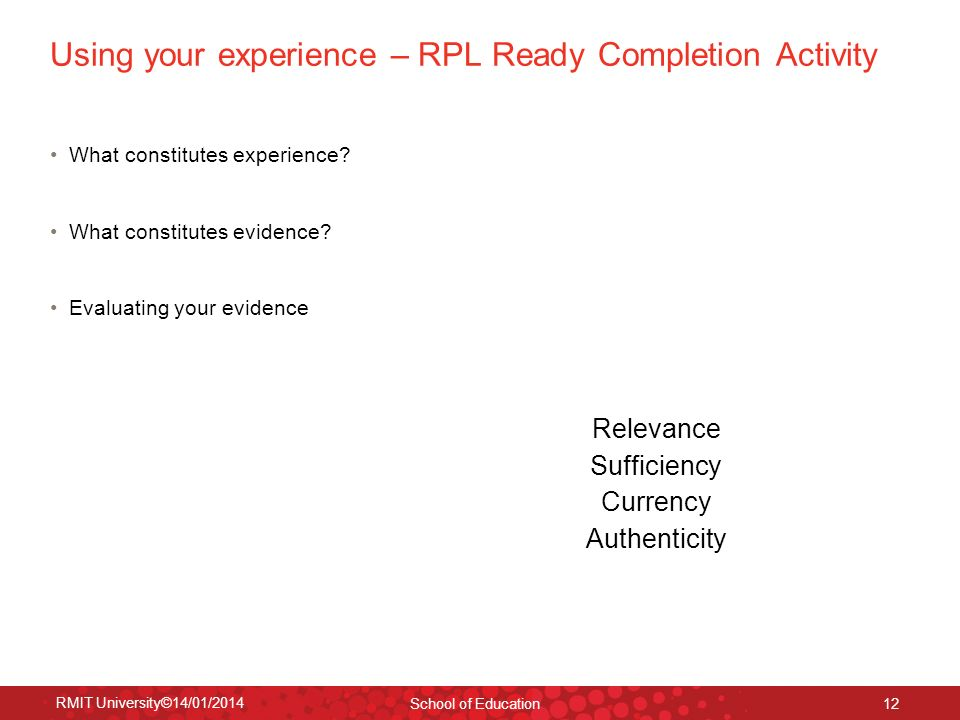 Using your experience – RPL Ready Completion Activity