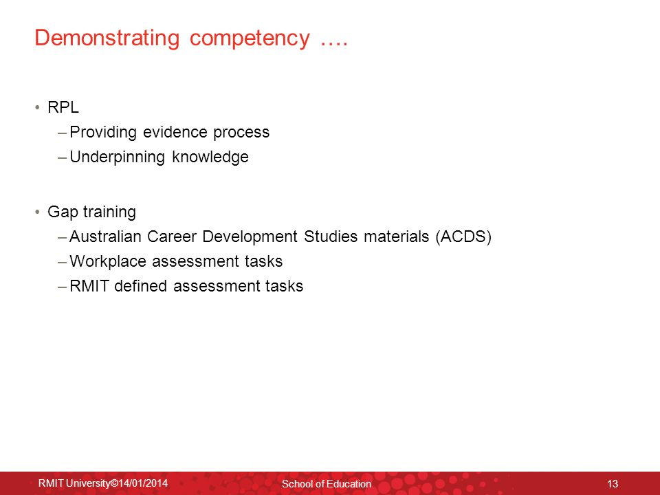 Demonstrating competency ….