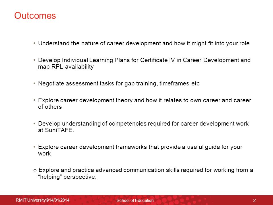 Outcomes Understand the nature of career development and how it might fit into your role.