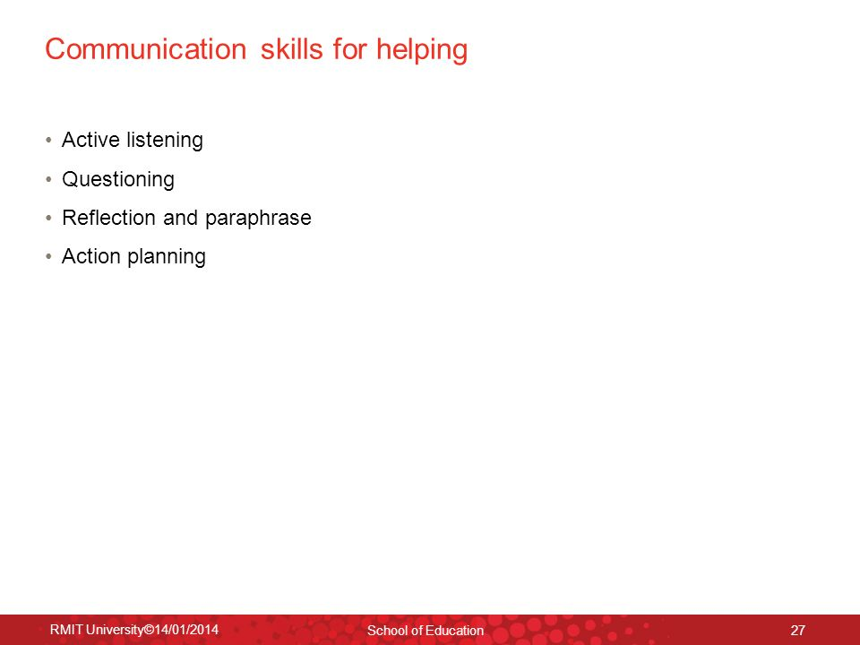 Communication skills for helping