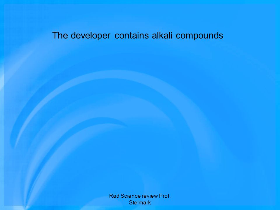 The developer contains alkali compounds