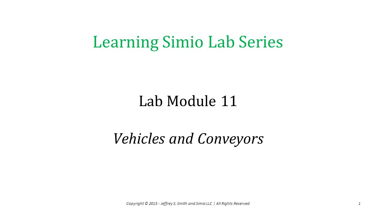 Lab Module 11 Vehicles and Conveyors
