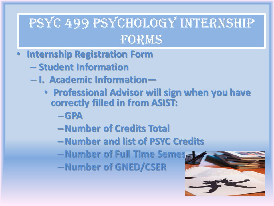 PSYC 499 Psychology Internship Forms