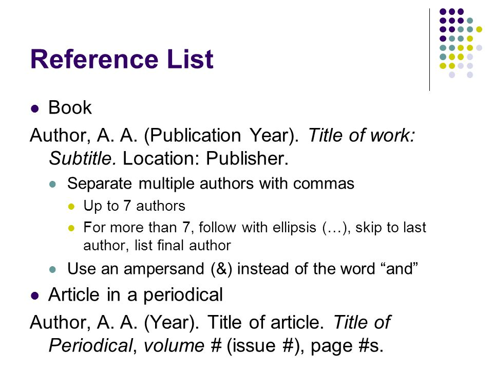 Reference List Book. Author, A. A. (Publication Year). Title of work: Subtitle. Location: Publisher.